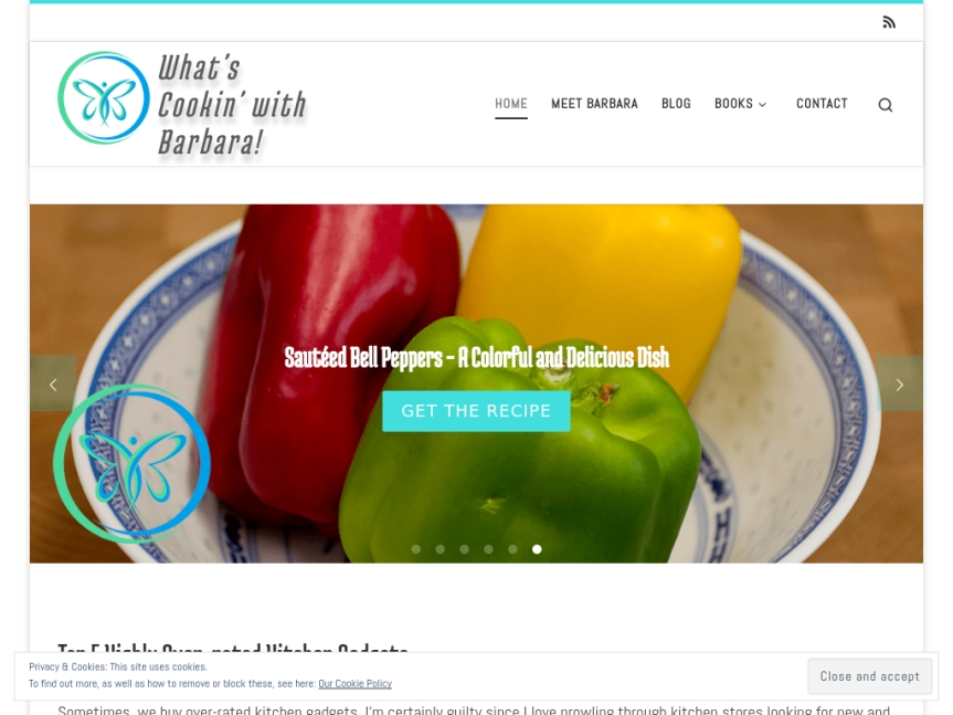 What's Cookin' With Barbara! Website Screenshot